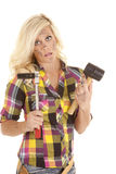 Woman with hammer and socket Stock Photos