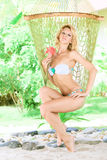 Woman in hammock Stock Photography