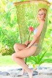 Woman in hammock Royalty Free Stock Photos