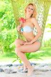 Woman in hammock Stock Image