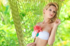 Woman in hammock Royalty Free Stock Photography