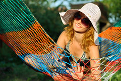 Woman in hammock Royalty Free Stock Image