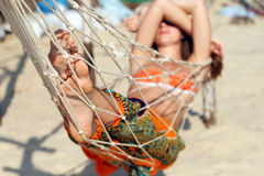 Woman in hammock Royalty Free Stock Photos