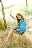 Woman in hammock. Young woman resting in hammock Stock Photography