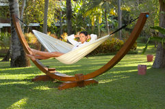 Woman on hammock Royalty Free Stock Image