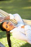 Woman on hammock. Royalty Free Stock Image