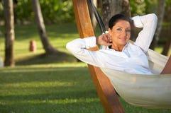 Woman on hammock.