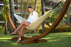 Woman on hammock Royalty Free Stock Photos