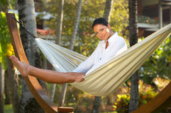 Woman on hammock Royalty Free Stock Images