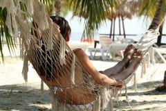 Woman on hammock Royalty Free Stock Image