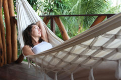 Woman in a hammock Stock Photography
