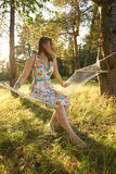 Woman on hammock in the forest Royalty Free Stock Photos
