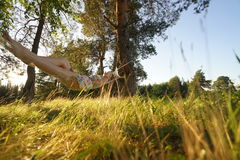 Woman on hammock in the forest Stock Images