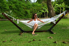 Woman in a hammock Royalty Free Stock Images