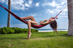 Woman in a hammock Royalty Free Stock Photography