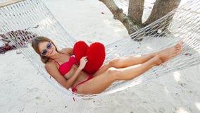 Woman in hammock on tropical beach at Samui island stock footage