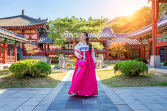 Woman with Hanbok in Gyeongbokgung,the traditional Korean dress. Royalty Free Stock Photos