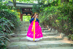 Woman with Hanbok,the traditional Korean dress. Stock Image
