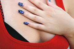 Woman hand. With nail art Stock Photo