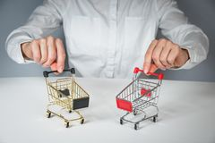 Free Woman Hand And Cart Stock Image - 136688941