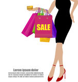 Woman Hand In Black Dresses With Colorful Shopping Bags And Cred royalty free illustration