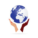 Woman hand black and white holding earth Stock Photos