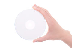 Woman hand with blank compact disk isolated on white Royalty Free Stock Image