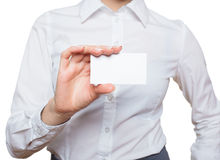 Woman Hand with blank visiting card Royalty Free Stock Image