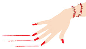 Woman hand with bracelet scratching lines. Vector woman hand with ruby bracelet scratching red lines Stock Photography