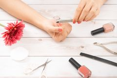 Woman Hand Care. Closeup Of Beautiful Female Hands Having Spa Manicure At Beauty Salon. Beautician Filing Clients Healthy Natural. Nails With Nail File. Nail royalty free stock image