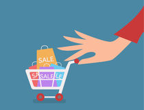 Woman hand with cart shopping concept vector Royalty Free Stock Image