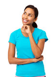 Woman With Hand On Chin Looking Away Royalty Free Stock Photography