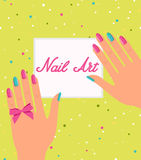 Woman hand with colorful fingernails. Gift certificate. For a nail salon Stock Image