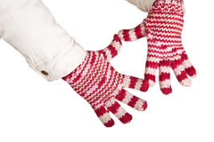 Woman hand in colorful and warm gloves isolated Stock Photography