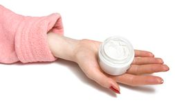 Woman hand with cream. On white Stock Images
