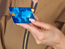 Woman hand with credit card Royalty Free Stock Images