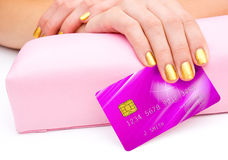 Woman hand with credit card Royalty Free Stock Photography