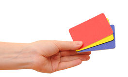 Woman hand with a credit cards Stock Images