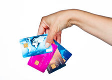 Woman hand with credit cards Stock Photo
