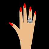 Woman hand with a diamond ring Royalty Free Stock Image