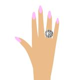 Woman hand with a diamond ring Stock Photo