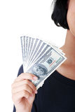 Woman hand with dollars. Stock Photo