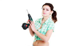 Woman with hand drill Royalty Free Stock Photos
