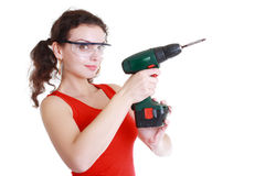 Woman with hand drill Stock Image