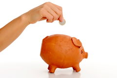 Woman hand dropping coin in piggy bank Royalty Free Stock Images