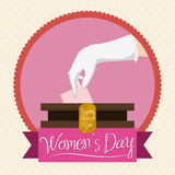 Woman Hand in Elegant Gloves Voting for Women's Day, Vector Illustration royalty free stock images
