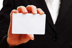 Woman hand with empty business card Stock Photo