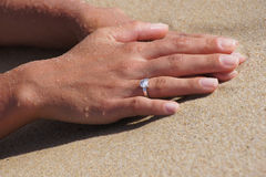 Woman hand with engagement ring Stock Images