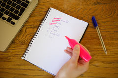Woman hand with felt pen marker and notebook Royalty Free Stock Photo