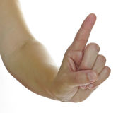 Woman hand with finger up Royalty Free Stock Images